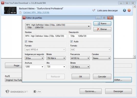 Descarga y sube vídeos a YouTube Configura vídeo y audio
