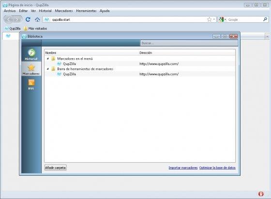 Control de funciones en QupZilla desde una sola ventana
