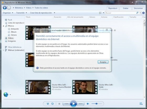 Servidor DLNA en Windows 7 4