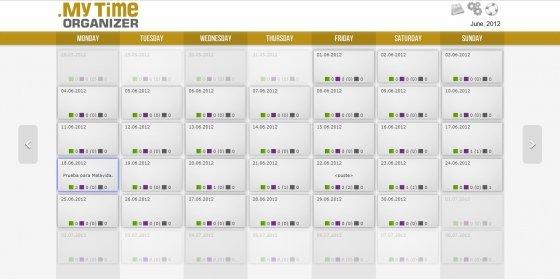 Vista del calendario en My Time Organizer