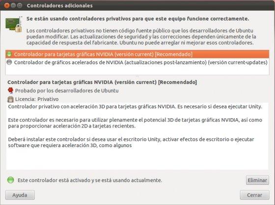 Información del soporte gráfico para Ubuntu