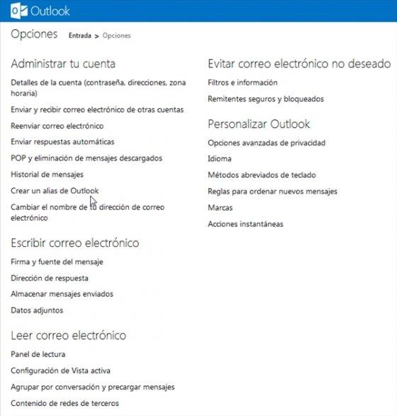 Vincular cuentas en Outlook.com 2