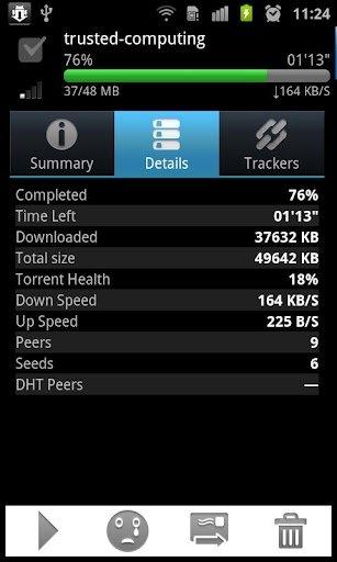 Aplicación aTorrent para Android