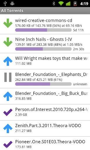 Aplicación BitTorrent Remote para Android
