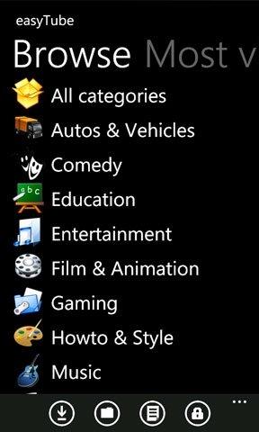 Búsqueda por categorías en EasyTube