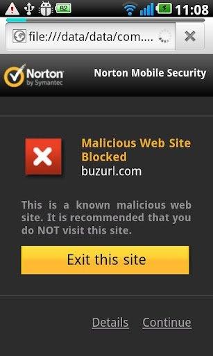 Web bloqueada en Norton para Android