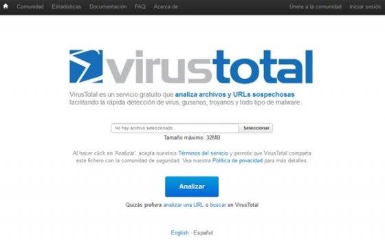 VirusTotal antivirus online - 1