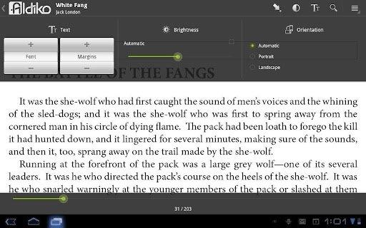 Configuración de interfaz en Aldiko Book Reader