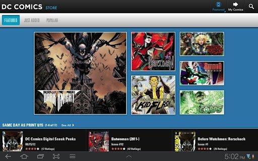 Menú en DC Comics para Android