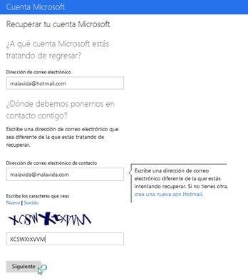 Recuperar cuenta de Hotmail bloqueada - 2