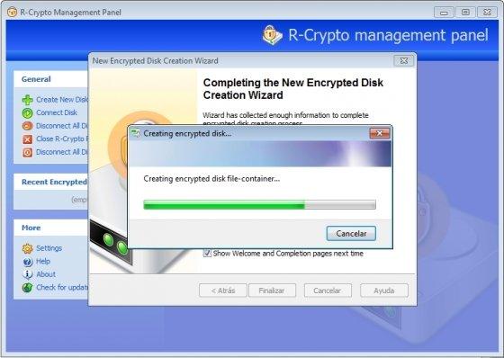 Creación de la nueva unidad de disco virtual encriptada