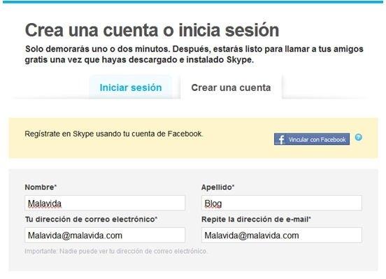 Crear cuenta Skype - 2