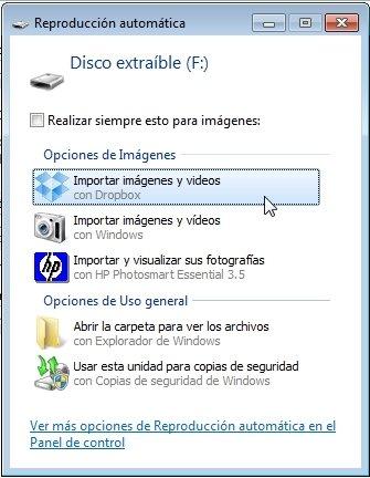 Reproducción automática para subir fotos y vídeo a Dropbox