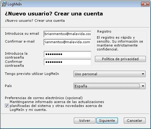 Registro en LogMeIn