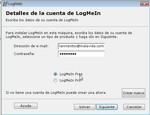 Detalles de cuenta en LogMeIn