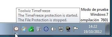 Toolwiz TimeFreeze en la barra de tareas