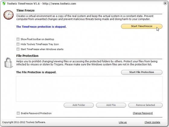 Inicias la protección con Toolwiz TimeFreeze