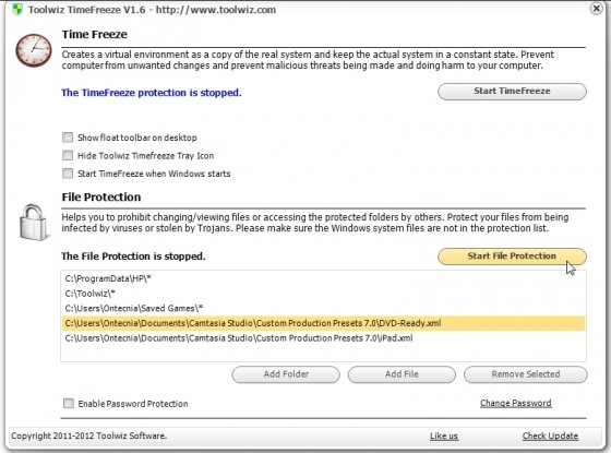 Protección individual de archivos con Toolwiz TimeFreeze