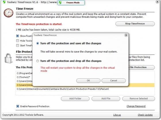 Apagar la prtección en Toolwiz TimeFreeze