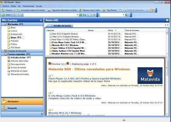 Interfaz de RSS Bandit