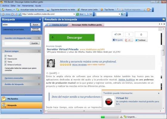 Interfaz de RSSOwl