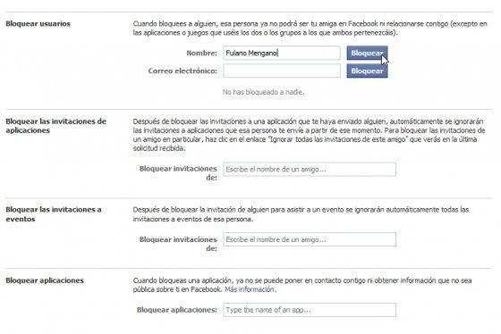 Bloquear usuarios en Facebook
