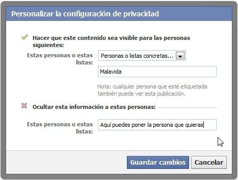 Personalización de la privacidad de las publicaciones en Facebook