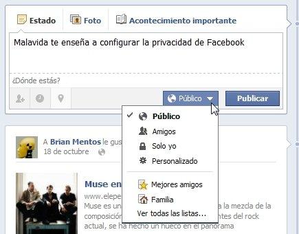 Selector de público en las publicaciones en Facebook