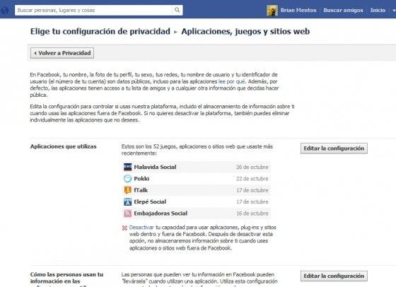 Configuración de la privacidad de juegos y aplicaciones de Facebook