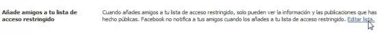 Restringir acceso a publicaciones de Facebook