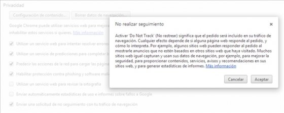 Privacidad: activar Do Not Track en Google Chrome