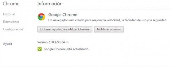 Versión de Google Chrome