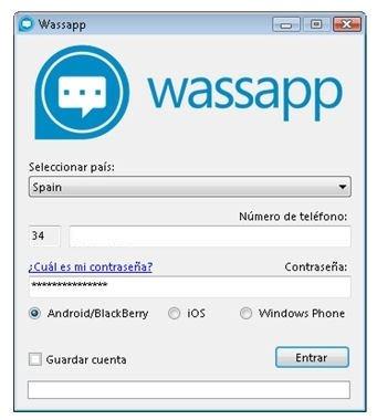 Ventana de inicio de sesión en Wassap