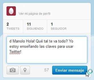 Mensaje directo privado en Twitter