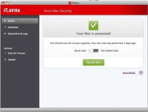 Panel de control de Avira para Mac