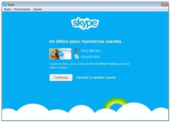 Fusión de cuentas de Messenger y Skype