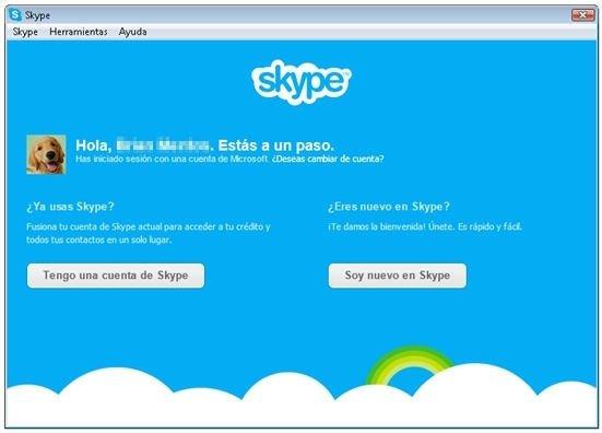 Opciones de alta en Skype