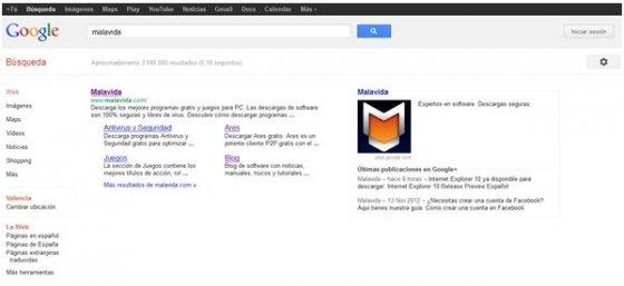 Opciones de búsqueda de Google en su ubicación original