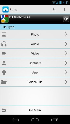 Selección del tipo de archivo a compartir en Android con Send Anywhere