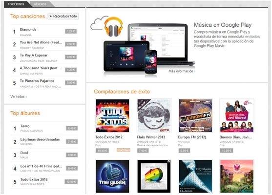 Sección para comprar música en Google Music