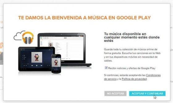 Ventana de inicio en Google Music
