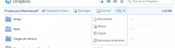 Barra de herramientas en Dropbox
