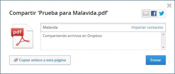 Configuración de preferencias para compartir archivos en Dropbox