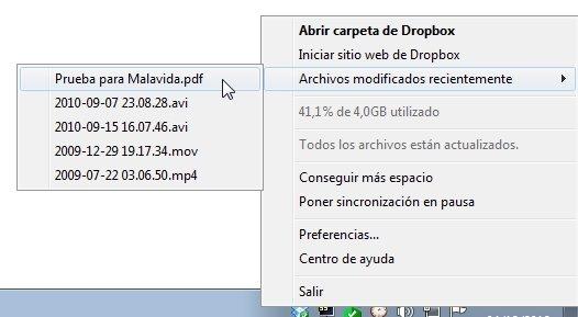 Sincronizar archivos en Dropbox