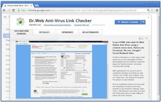 Complemento en la Chrome Web Store
