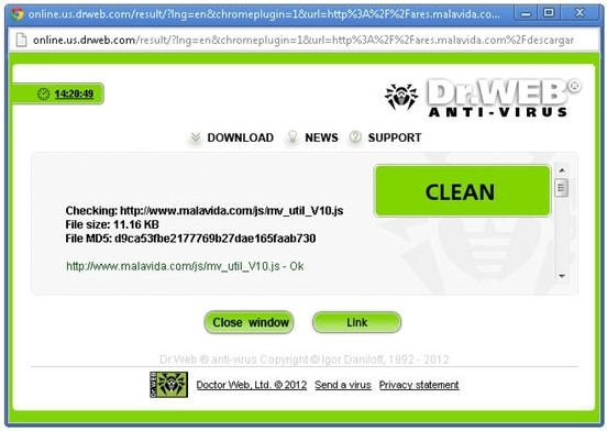 Ventana de enlace seguro de Dr.Web Anti-Virus Link Checker
