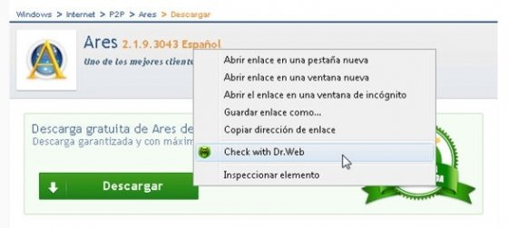 Menú contextual de Windows con la opción de Dr.Web Anti-Virus Link Checker