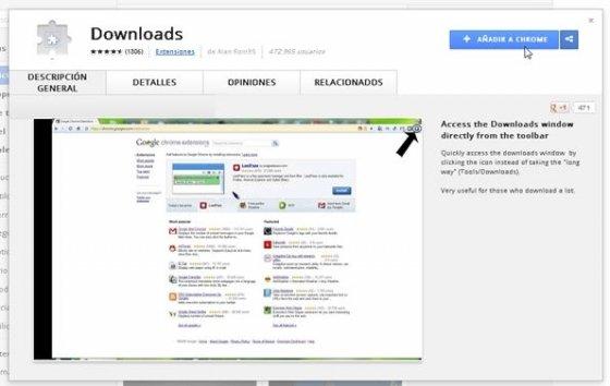 Extensión Downloads en la Google Web Store