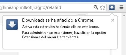 Extensión Downloads instalada en Google Chrome Google Chrome