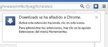Extensión Downloads instalada en Google Chrome Google Chrome
